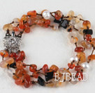 7.5 inches three strand agate chips white pearl bracelet