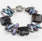 Biwa Pearl and Dragon Blood Stone Bracelet with Moonlight Clasp