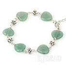 full heart 14mm aventurine tibet silver bracelet with extendable chain