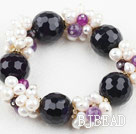 Assorted White Freshwater Pearl and Big Purple Agate Stretch Bracelet