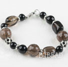 Assorted smoky quartz and black agate bracelet with lobster clasp