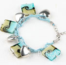 Square shape blue colored glaze and heart shape accessories bracelet under $ 40
