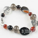 Assorted smoky quartz and agate bracelet with lobster clasp