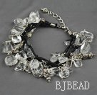 Multi strand fillet white crytal chip bracelet with adjustable chain