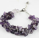 Single strand amethyst chip bracelet with adjustable chain under $5