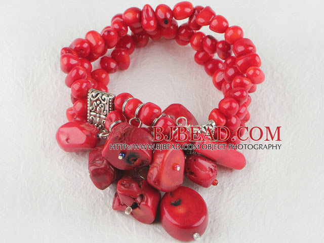 7.5 inches three strand red coral elastic bracelet