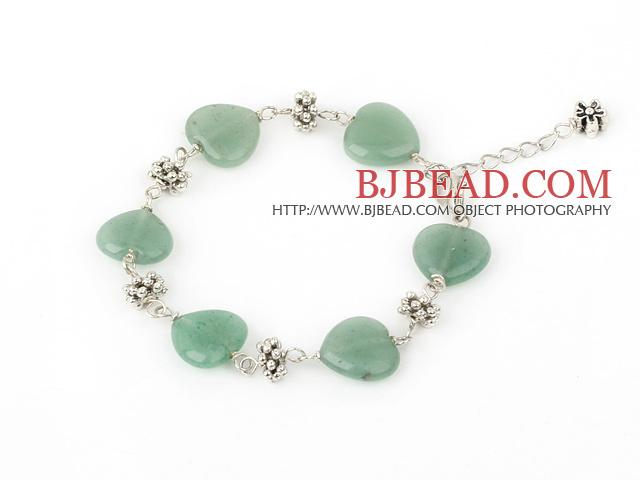 full heart 14mm aventurine tibet silver bracelet with extendable chain