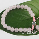 Single strand round rose quartz Woven bracelet