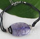Simple style purple agate stone bracelet with adjustable chain