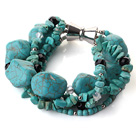 Multi strand assorted multi shape turquoise and crystak bracelet