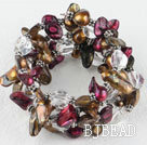 Brown and purple red color teeth shape freshwter pearl and white crystal wrap bangle bracelet