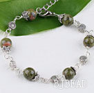 Cute style unakite stone bracelet with lobster clasp