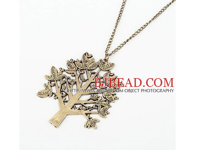 Vintage and Long Style Christmas Tree Bronze Pendant Necklace