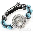 Fashion Style Sky Blue Color Rhinestone Ball Watch Drawstring Bracelet