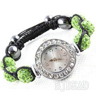 Fashion Style Apple Green Color Rhinestone Ball Watch Drawstring Bracelet