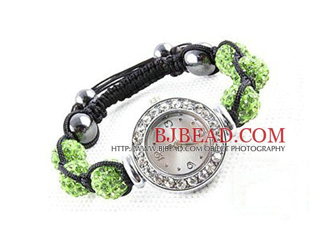 Fashion Style Apple Green Color Rhinestone Ball Watch Drawstring Bracelet