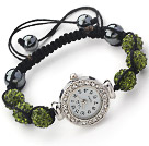 Fashion Style Dark Green Color Rhinestone Ball Watch Drawstring Bracelet