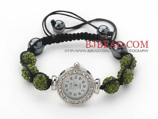Fashion Style Dark Green Color Rhinestone Ball Watch Drawstring Bracelet
