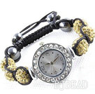 Fashion Style Crystal Yellow Color Rhinestone Ball Watch Drawstring Bracelet