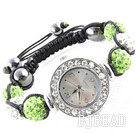 Fashion Style White and Apple Green Color Rhinestone Ball Watch Drawstring Bracelet