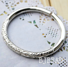 Handmade 999 Sterling Silver Bangle Bracelet ( Flower Pattern Style )