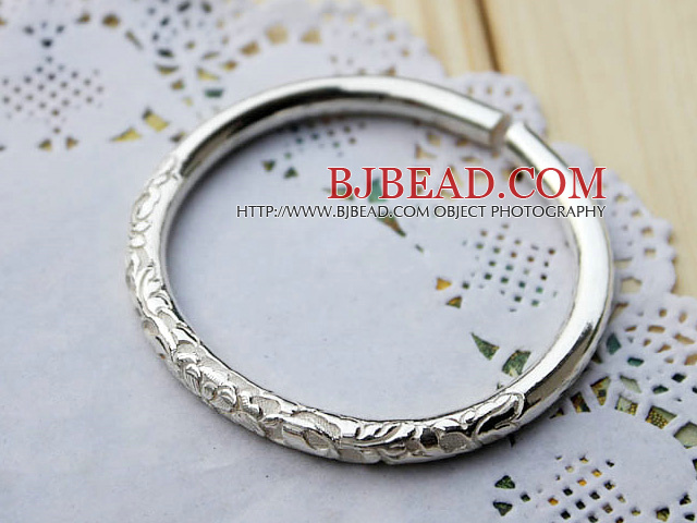 Handmade 999 Sterling Silver Bangle Bracelet ( Flower Pattern Style )