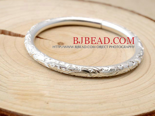 Classic Design Handmade 999 Sterling Silver Bangle Bracelet with Tree Peony Pattern