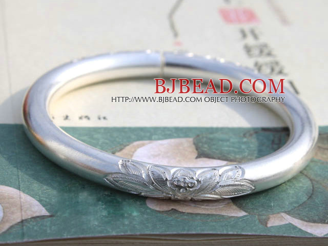 Classic Design Handmade 999 Sterling Silver Thin Bangle Bracelet with Lotus Pattern
