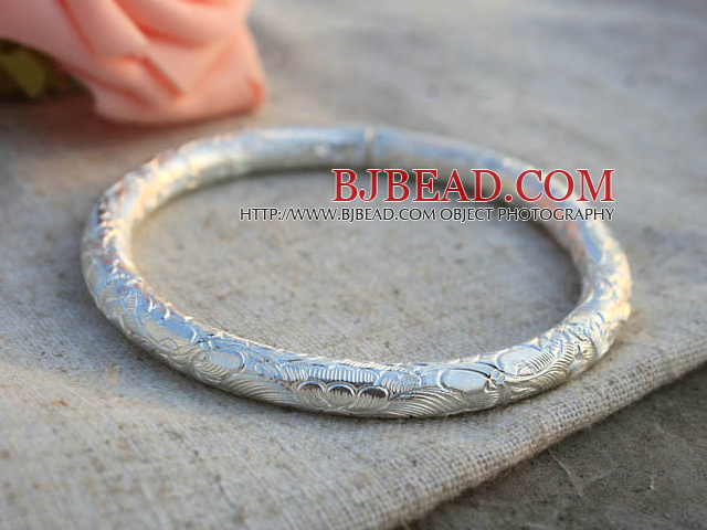 Classic Design Handmade 999 Sterling Silver Thin Bangle Bracelet with Flower Pattern