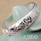 Wide Style Handmade 999 Sterling Silver Bangle Bracelet with Lotus Pattern