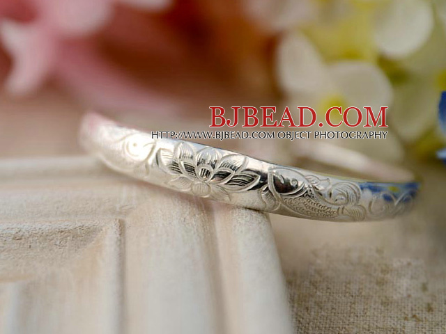 Handmade 999 Sterling Silver Bangle Bracelet with Double Fish Pattern and Accessories