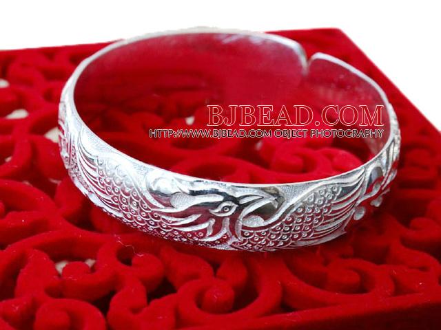 Bold Style Handmade 999 Sterling Silver Bangle Bracelet with Phoenix Pattern