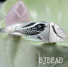 Handmade 999 Sterling Silver Double Fish Bangle Bracelet