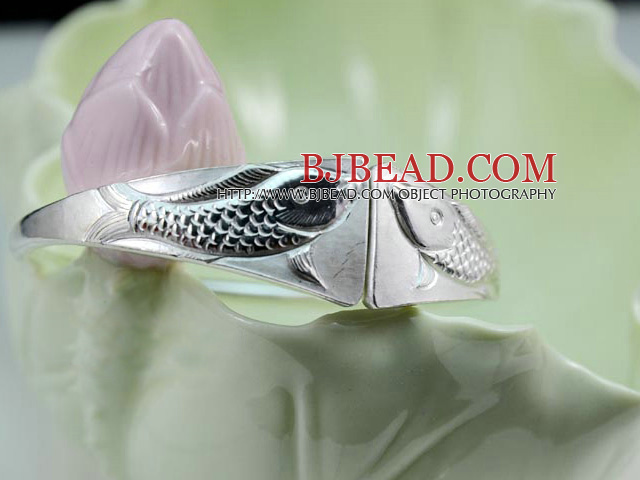 Handmade 999 Sterling Silver Double Fish Bangle Bracelet