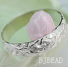Bold Style Handmade 999 Sterling Silver Bangle Bracelet with Flower Pattern