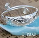 Handmade 999 Sterling Silver Adjustable Bangle Bracelet with Tree Peony