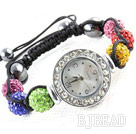 Fashion Style Multi Color Rhinestone Ball Watch Drawstring Bracelet