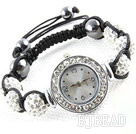 Fashion Style White Rhinestone Ball Watch Drawstring Bracelet