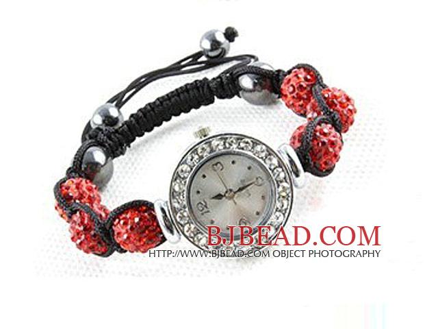 Fashion Style Red Rhinestone Ball Watch Drawstring Bracelet