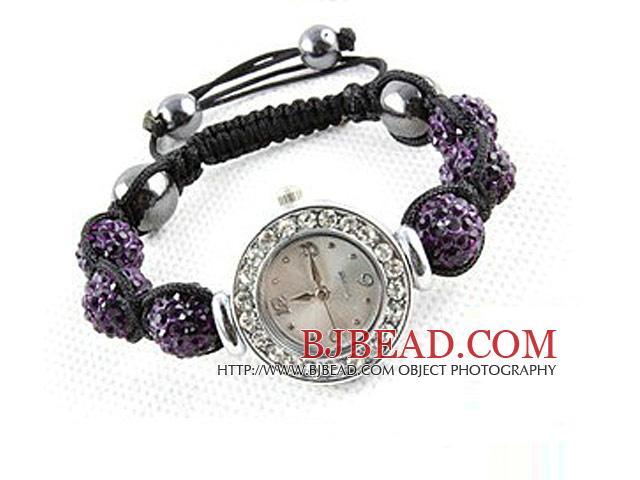 Fashion Style Dark Purple Rhinestone Ball Watch Drawstring Bracelet