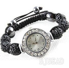 Fashion Style Black Rhinestone Ball Watch Drawstring Bracelet
