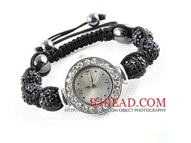 Fashion Style Black Rhinestone Ball Watch Drawstring Bracelet