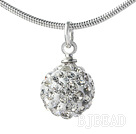 Simple Design Fashion Style White Rhinestone Ball Pendant Necklace with Metal Chain under $ 40