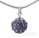 Simple Design Fashion Style Purple Rhinestone Ball Pendant Necklace with Metal Chain under $ 40
