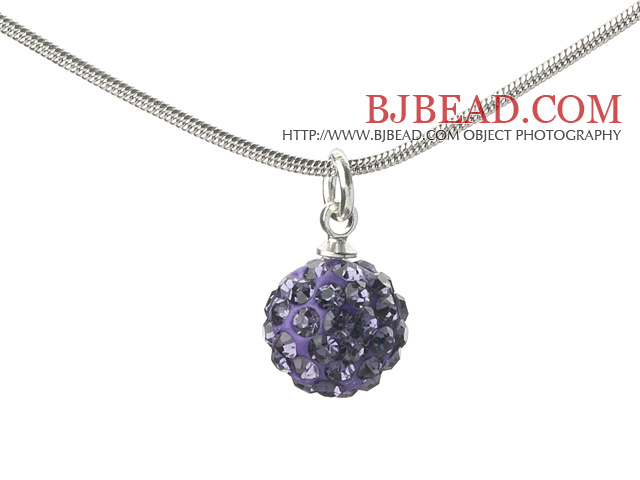 Simple Design Fashion Style Purple Rhinestone Ball Pendant Necklace with Metal Chain