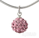 Simple Design Fashion Style Baby Pink Rhinestone Ball Pendant Necklace with Metal Chain