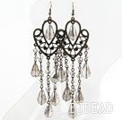 Vintage Style Gray Drop Crystal Chandelier Earrings