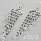Long Style Clear Crystal Tassel Earrings