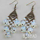 Vintage Style Square Shape Opal Crystal Chandelier Earrings