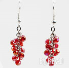 Cluster Style 4mm Red Crystal Earrings